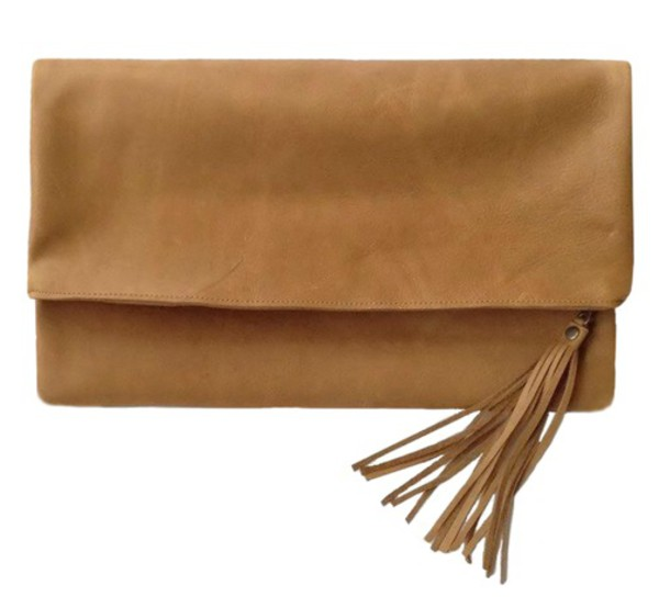 bag leather clutch fringed bag fringes handbag