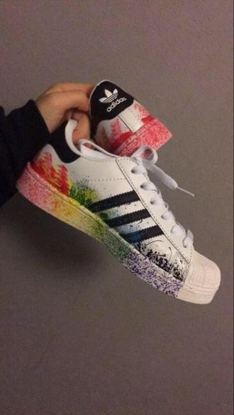 shoes adidas adidas superstars colorful rainbow