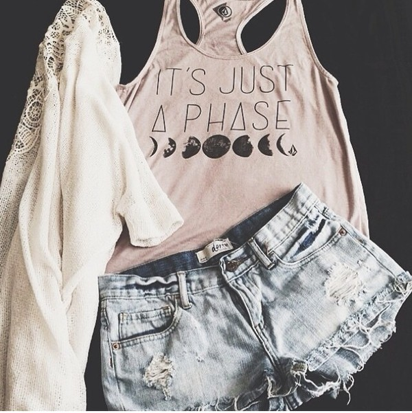 t-shirt white hipster moon tank top shorts jeans cardigan pacsun