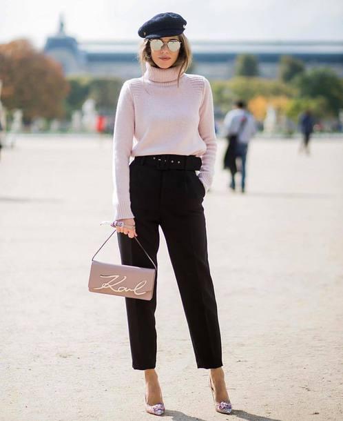 bag tumblr pink bag karl lagerfeld pants black pants pumps streetstyle sweater pink sweater turtleneck turtleneck sweater hat fisherman cap sunglasses