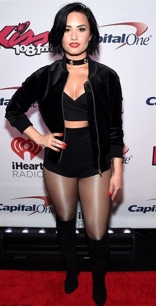 jacket, shorts, demi lovato, tights, all black everything ...