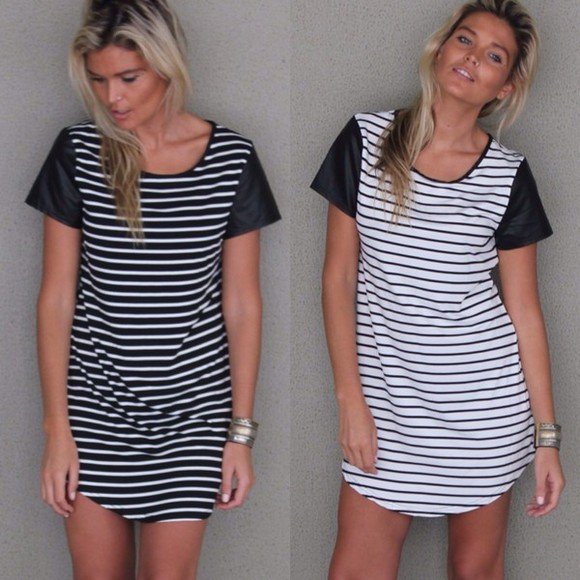 dress shirt dress white stripes stripe striped striped dress t-shirt dress black black and white pleather sleeves leather sleeves leather pleather pleather dress