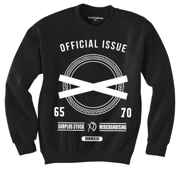 sweater black crewneck white xo sweater, weeknd sweater