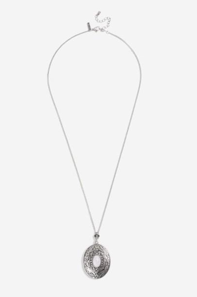 Topshop necklace pendant white jewels