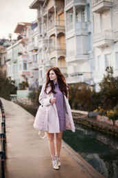 the bow-tie,blogger,coat,sweater,dress,shoes,pink coat,purple dress,ankle boots,floral shoes