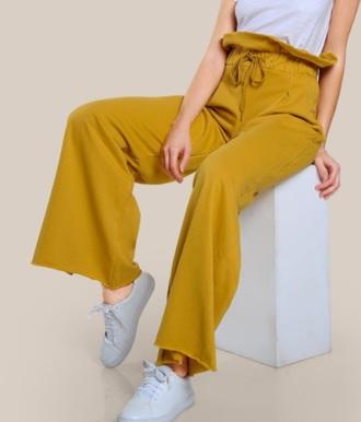 pants girly trendy high waisted mustard wide-leg pants