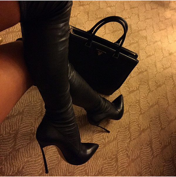Brand New Black Suede Over The Knee Boots For Women Stretch ...