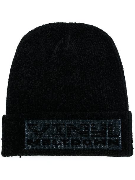 vinyl beanie black hat