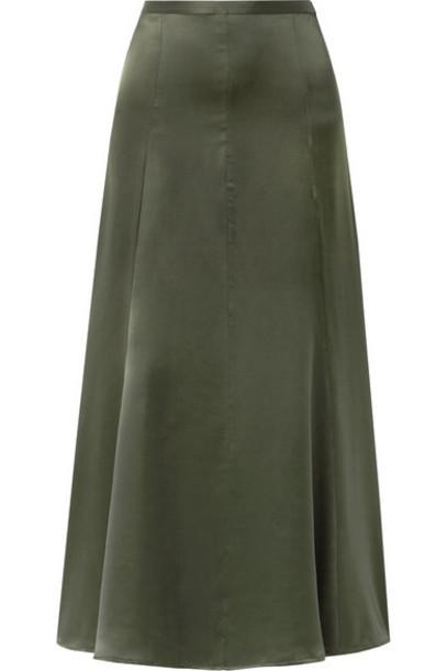 Albus Lumen - Silk-satin Maxi Skirt - Army green