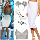 skirt,ariana grande,white,pencil skirt,tank top,ariana grande outfits,blouse,shoes,hair accessory