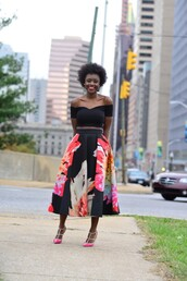 skinny hipster,blogger,shoes,off the shoulder,midi skirt,floral skirt,make-up,bag,top,skirt,floral midi skirt,black off shoulder top,black crop top,crop tops,black top,bardot top,high waisted skirt,slingbacks,sandals,sandal heels,studded sandals,midi floral skirt