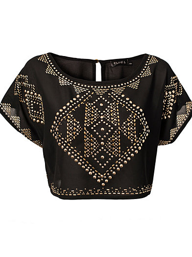 Embellished Crop Top - Club L - Black - Tops - Clothing - Women - Nelly.com Uk