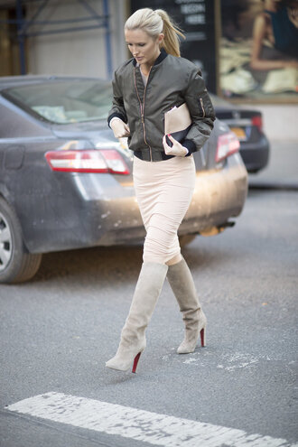 skirt boots streetstyle fashion week 2016 ny fashion week 2016 bomber jacket nude shoes