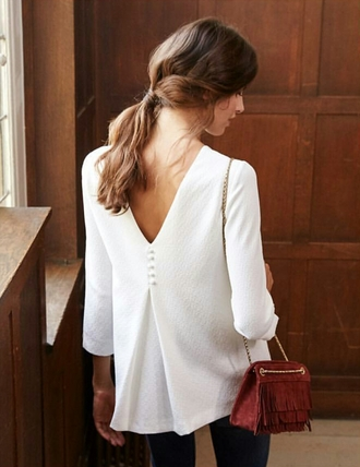 top tumblr white top open back long sleeves bag rust fringed bag fringes chain bag