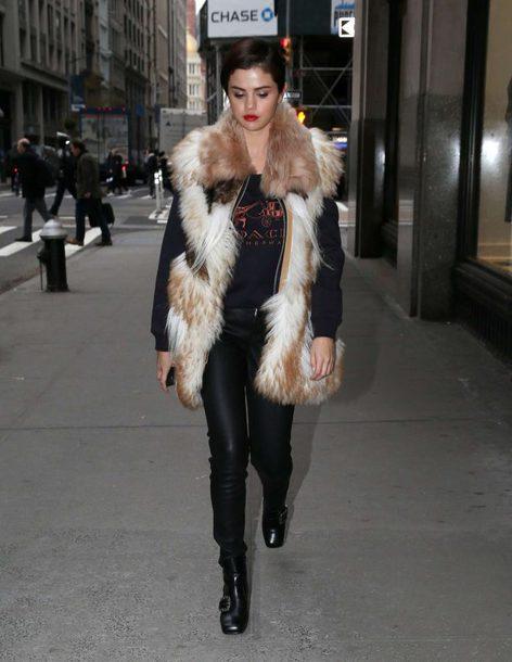 sweater sweatshirt fur fur vest selena gomez pants streetstyle celebrity