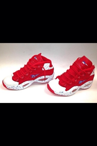 shoes red white swag dope reebok reeboks