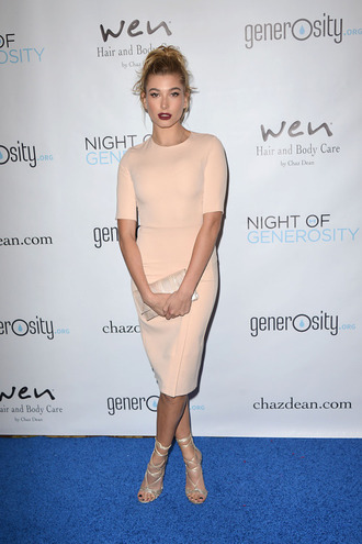 dress midi dress nude nude dress bodycon dress sandals hailey baldwin clutch shoes sandal heels high heel sandals bag