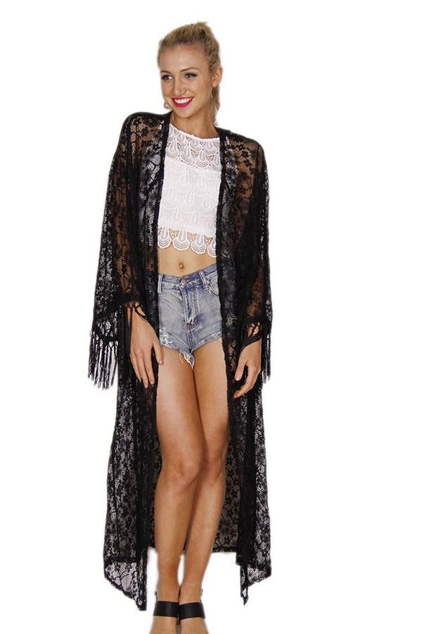 Black Full Lace Kimono