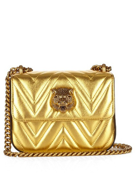 a4cedae09e875 GUCCI Broadway metallic-leather shoulder bag in gold