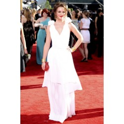 Leighton meester white formal prom dress the 61st annual emmy awards red carpet