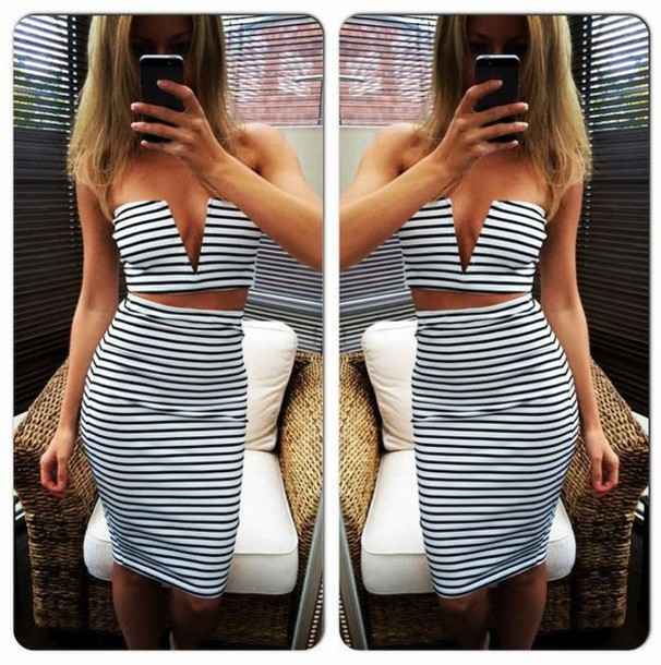 dress two-piece striped skirt striped top cropped crop tops crop v neck plunge v neck sexy sexy dress party dress stripes black and white party evening dress summer dress ibiza dress midi skirt trendy ibiza two-piece set