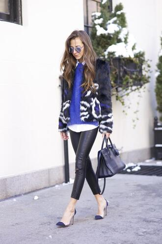 something navy blogger leather pants stilettos faux fur jacket blue pants shirt sweater coat bag shoes sunglasses