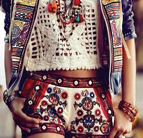 boho gypsy hippie hippiechic boho patterns shorts