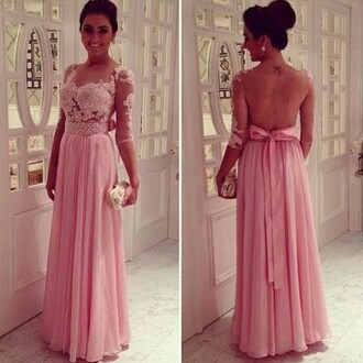 dress pink prom lace backless sheer bow