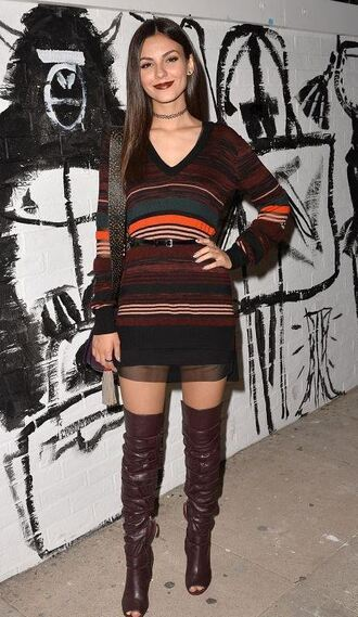 sweater tunic dress knitwear fall outfits victoria justice boots over the knee boots dress