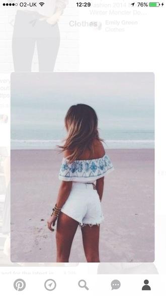 top pattern blue white beach summer crop tops off the shoulder