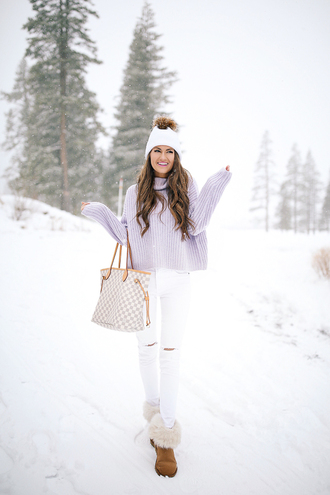 southern curls and pearls blogger sweater jacket pants shoes hat make-up winter outfits beanie louis vuitton bag tote bag winter sweater white jeans boots winter boots