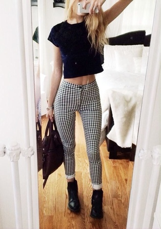 pants jeans leggings plaid high waisted plaid pants high waisted pants shirt bag