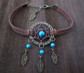 jewels,bracelets,dreamcatcher,tumblr,cute,summer,woven bracelet,dreamcatcher bracelet,feathers,feather bracelet,blue,the hunger games,celebrity