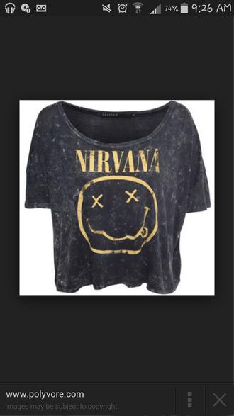 yellow nirvana smiley face bands shirt