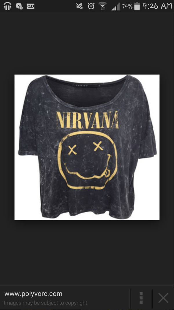 yellow nirvana smiley band shirt