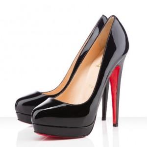 High black patent leather two platform almond toe pumps cheap sale