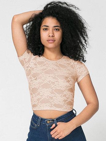 Stretch Floral Lace Crop Top | American Apparel