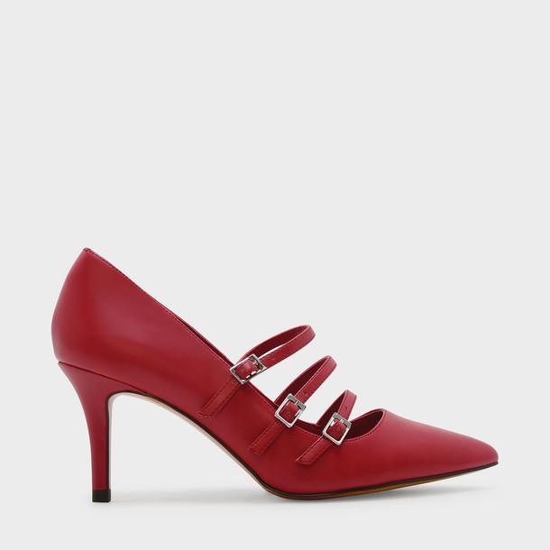 triple pumps red shoes