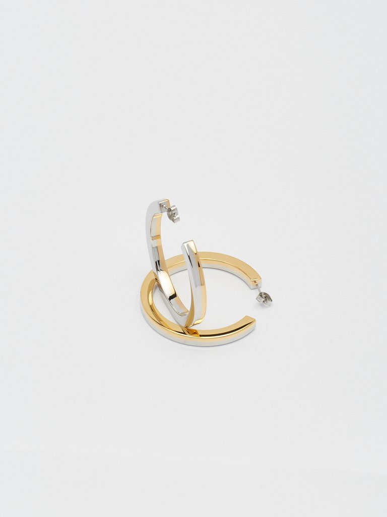 Two Tone Flat Hollow Hoops
