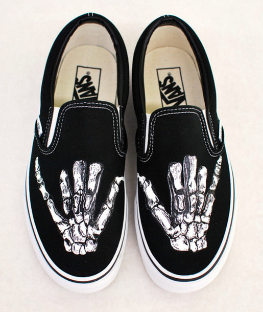 Shoes Vans Black Sneakers Slip On Custom Skeleton Hands