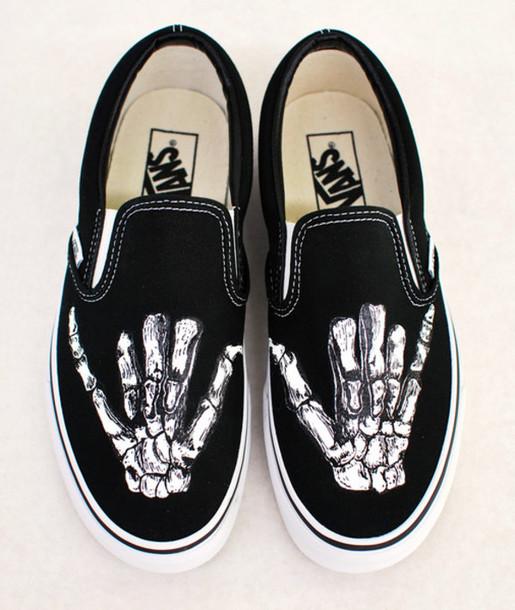 Shoes Vans Black Sneakers Slip On Custom Skeleton Hands