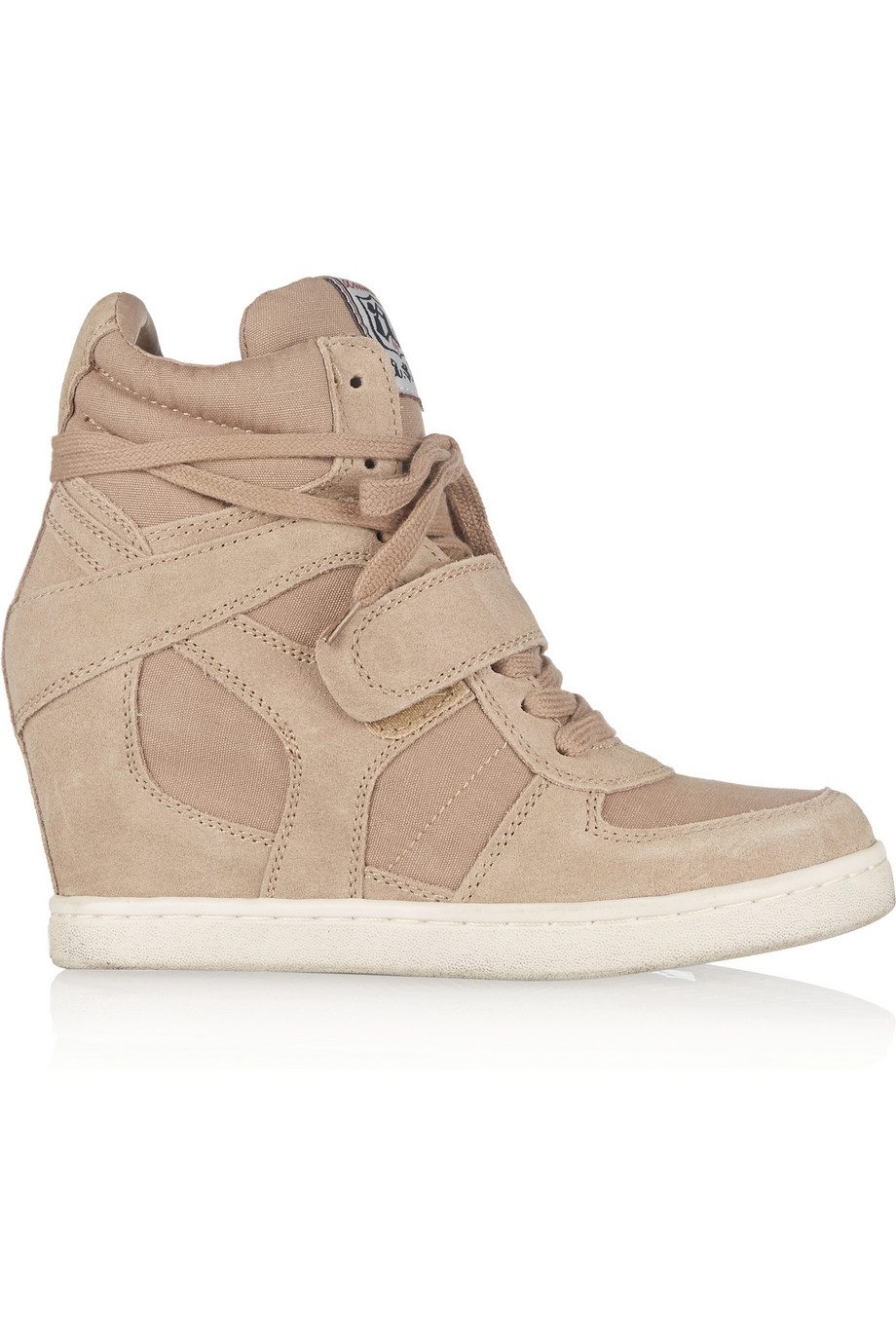 ASH Cool washed-suede and canvas wedge sneakers – 40% at THE OUTNET.COM