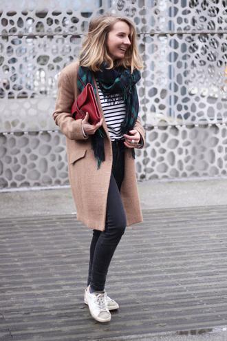 jane's sneak peak blogger tartan scarf camel coat striped top coat top jeans scarf bag jewels