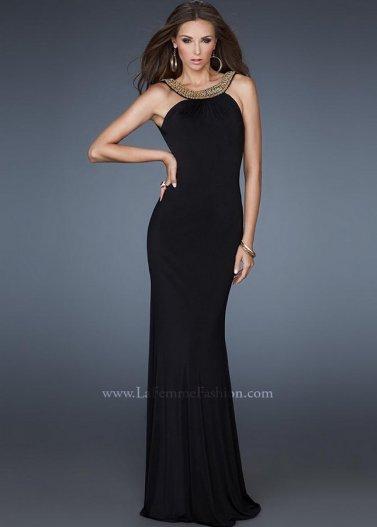 Gold Beaded Halter Neck Black Open Back La Femme 18355 Evening Gown [La Femme 18355 Black] - $195.00 : Prom Dresses 2014 Sale, 70% off Dresses for Prom