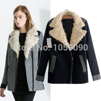 Aliexpress.com : Buy 2014 BRAND NEW ZA UK Brand Autumn Winter Women Quality Gray Black Lamb Fur Collar Coat Windbreaker Jacket Coat Short Paragraph from Reliable coat ny suppliers on Vogue Official Online Shop