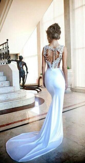 dress lace wedding dresses wedding white long wedding dress beaded love it white dress beaded open back