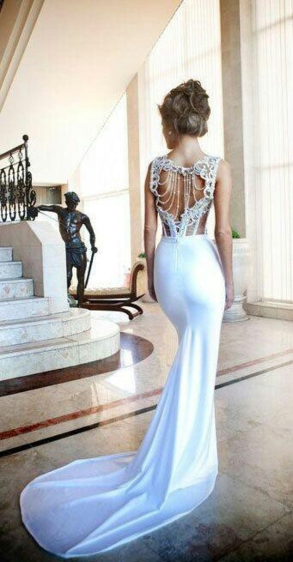 dress lace wedding dress wedding white long wedding dress beaded white dress open back