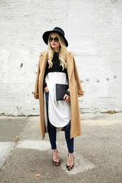 atlantic pacific,blogger,jacket,jeans,top,sunglasses,jewels,camel coat,hat,animal print,fall outfits,pouch,black pouch,bag,blue jeans,coat,black hat,shirt,white shirt,long shirt,pumps