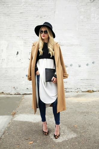 atlantic pacific blogger jacket jeans top sunglasses jewels camel coat hat animal print fall outfits pouch black pouch bag blue jeans coat black hat shirt white shirt long shirt pumps