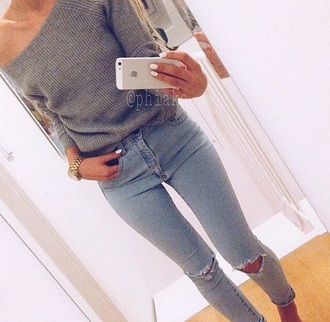 sweater grey jumper grey jumper gray jumper grey sweater long sleeves long sleeved jumper fall outfits winter outfits winter jumper winter sweater jeans grey off the shoulder sweater fashion make-up